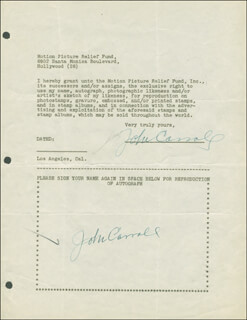 JOHN CARROLL - DOCUMENT DOUBLE SIGNED CIRCA 1946