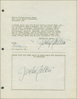 JOSEPH COTTEN - DOCUMENT DOUBLE SIGNED 05/14/1947
