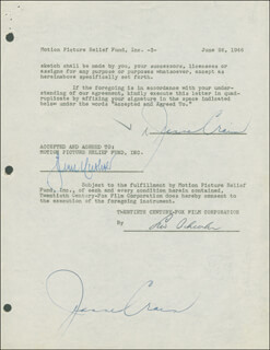 JEANNE CRAIN - DOCUMENT DOUBLE SIGNED 06/26/1946