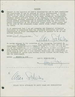 ANN SOTHERN - DOCUMENT DOUBLE SIGNED 10/31/1946