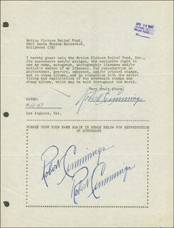 Autographs: ROBERT BOB CUMMINGS - DOCUMENT MULTI-SIGNED 04/10/1947