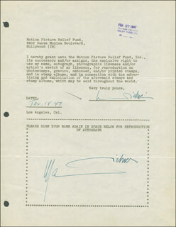MARLENE DIETRICH - DOCUMENT DOUBLE SIGNED 02/18/1947