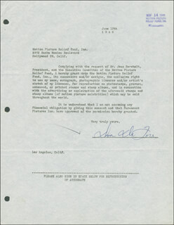 DON DEFORE - DOCUMENT SIGNED 06/12/1946
