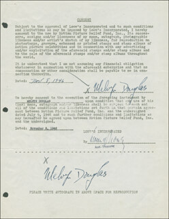 MELVYN DOUGLAS - DOCUMENT DOUBLE SIGNED 11/08/1946