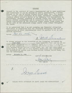 IRENE DUNNE - DOCUMENT DOUBLE SIGNED 11/20/1946