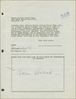 ANN DVORAK - DOCUMENT SIGNED 08/29/1946
