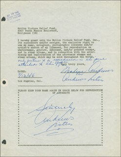 Autographs: MAXENE ANDREWS - DOCUMENT MULTI-SIGNED 09/13/1946