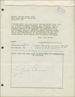 JUDY CANOVA - DOCUMENT DOUBLE SIGNED 11/16/1946