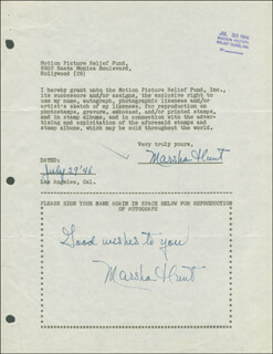 MARSHA HUNT - DOCUMENT DOUBLE SIGNED 07/29/1946