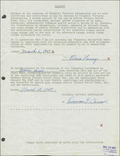 GLORIA HENRY - DOCUMENT SIGNED 05/19/1947