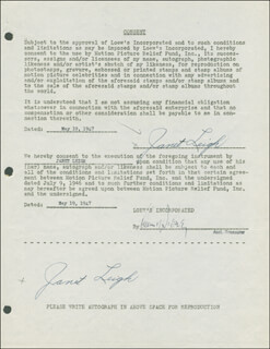 JANET LEIGH - DOCUMENT DOUBLE SIGNED 05/19/1947