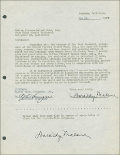 DOROTHY MALONE - DOCUMENT DOUBLE SIGNED 02/24/1947