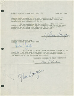 GLENN LANGAN - DOCUMENT DOUBLE SIGNED 06/26/1946