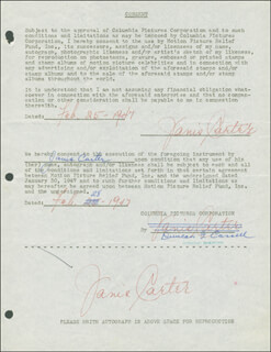 JANIS CARTER - DOCUMENT MULTI-SIGNED 02/25/1947