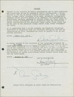 Autographs: AVA GARDNER - DOCUMENT DOUBLE SIGNED 11/25/1946