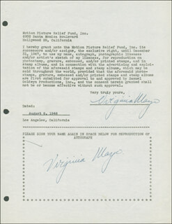 VIRGINIA MAYO - DOCUMENT DOUBLE SIGNED 08/06/1946