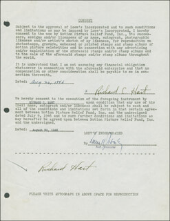 RICHARD HART - DOCUMENT DOUBLE SIGNED 08/26/1946