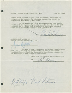 FRANK LATIMORE - DOCUMENT DOUBLE SIGNED 06/26/1946 CO-SIGNED BY: JEAN HERSHOLT