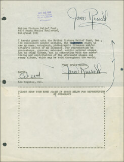 JANE RUSSELL - DOCUMENT DOUBLE SIGNED 10/22/1946