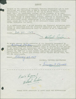 WILLARD PARKER - DOCUMENT DOUBLE SIGNED 02/27/1947 CO-SIGNED BY: DUNCAN G. CASSELL
