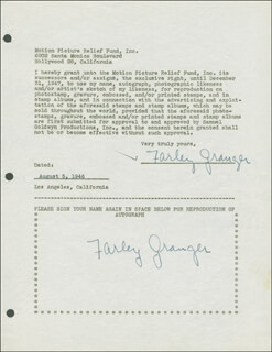 FARLEY GRANGER - DOCUMENT DOUBLE SIGNED 08/05/1946