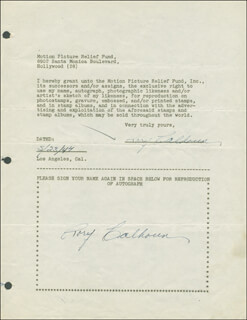 Autographs: RORY CALHOUN - DOCUMENT DOUBLE SIGNED 05/23/1947