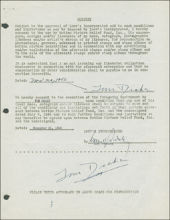TOM DRAKE - DOCUMENT DOUBLE SIGNED 11/20/1946