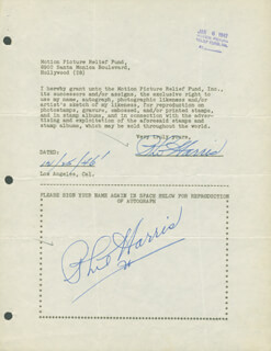 PHIL HARRIS - DOCUMENT DOUBLE SIGNED 12/25/1946