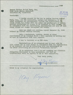 KAY KYSER - DOCUMENT DOUBLE SIGNED 09/27/1946