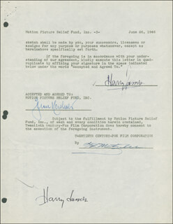 HARRY JAMES - DOCUMENT DOUBLE SIGNED 06/26/1946