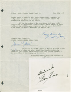 PERRY COMO - DOCUMENT DOUBLE SIGNED 06/26/1946