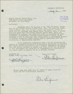 IDA LUPINO - DOCUMENT DOUBLE SIGNED 08/12/1946