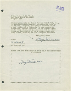 GUY MADISON - DOCUMENT MULTI-SIGNED 05/28/1947