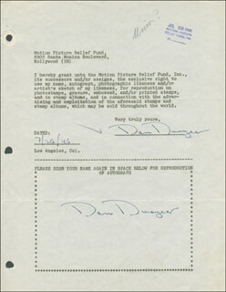 DAN DURYEA - DOCUMENT DOUBLE SIGNED 07/26/1946