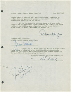DICK HAYMES - DOCUMENT DOUBLE SIGNED 06/26/1946 CO-SIGNED BY: JEAN HERSHOLT