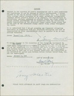 TONY MARTIN - DOCUMENT DOUBLE SIGNED 11/19/1946