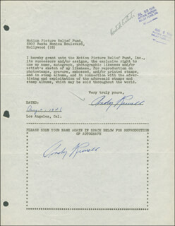ANDY RUSSELL - DOCUMENT DOUBLE SIGNED 08/02/1946