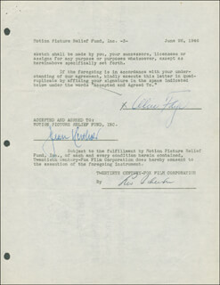 ALICE FAYE - DOCUMENT SIGNED 06/26/1946