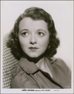 JANET GAYNOR - AUTOGRAPHED INSCRIBED PHOTOGRAPH CIRCA 1935