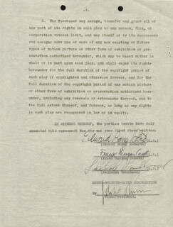 TALLULAH BANKHEAD - CONTRACT SIGNED 06/16/1933 CO-SIGNED BY: EDWARD BARRY ROBERTS, FRANK MORGAN CAVETT