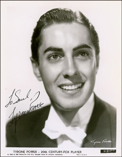 TYRONE POWER - AUTOGRAPHED INSCRIBED PHOTOGRAPH CIRCA 1937