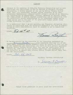 WARNER BAXTER - DOCUMENT DOUBLE SIGNED 02/26/1947
