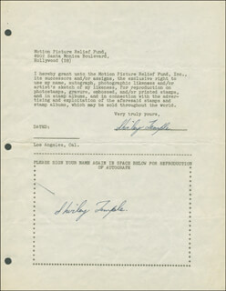 SHIRLEY TEMPLE - DOCUMENT DOUBLE SIGNED