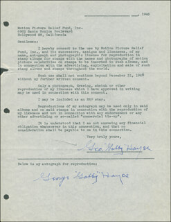GEORGE GABBY HAYES - DOCUMENT DOUBLE SIGNED