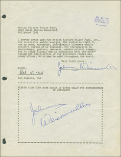JOHNNY WEISSMULLER - DOCUMENT DOUBLE SIGNED 10/18/1946