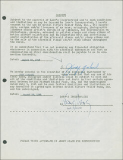 JUDY GARLAND - DOCUMENT SIGNED 08/28/1946