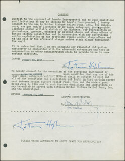 Autographs: KATHARINE HEPBURN - DOCUMENT DOUBLE SIGNED 01/20/1947