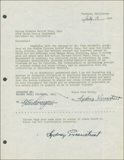 SYDNEY GREENSTREET - DOCUMENT DOUBLE SIGNED 07/19/1946