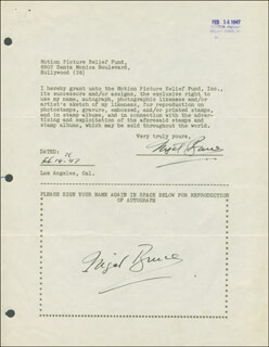NIGEL BRUCE - DOCUMENT DOUBLE SIGNED 02/14/1947