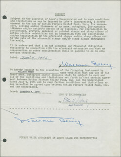 WALLACE BEERY - DOCUMENT DOUBLE SIGNED 11/04/1946